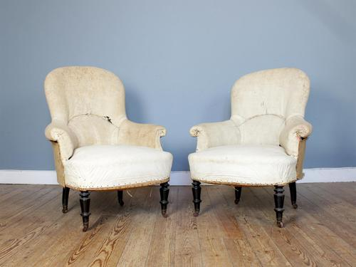 Pair of Napoleon III Spoon Back Armchairs (1 of 6)