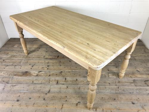 Rustic Stripped Pine Farmhouse Kitchen Table (1 of 11)