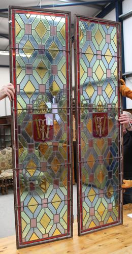 1880's Pair of Long Narrow Stained Glass Panels (1 of 2)