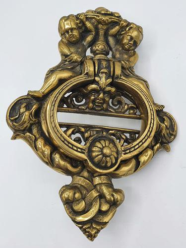 Very Large Early 20th Century Brass Door Knocker in the Victorian Style (1 of 2)