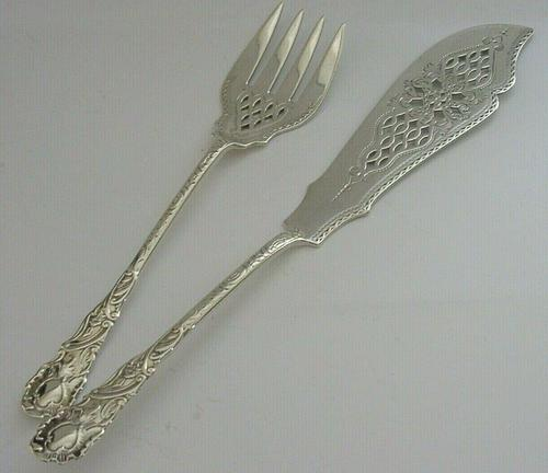 Antique Victorian English Solid Silver Fish Serving Set 1895/1896 Antique (1 of 8)