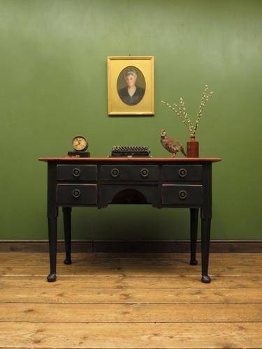 Antique Black Painted Writing Table Desk with Drawers, Gothic Shabby Chic (1 of 12)