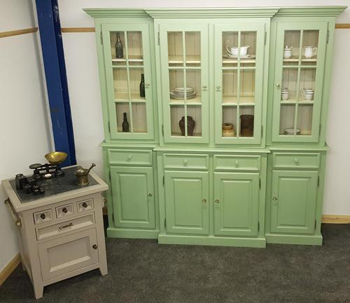 20th Century Breakfront Bookcase Painted Green (1 of 4)