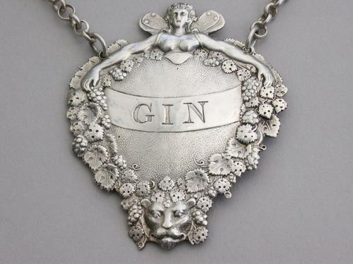 "Victorian Silver Wine Label Gin ""Lady Bountiful"" by Joseph Angell, London, 1850 (1 of 8)"