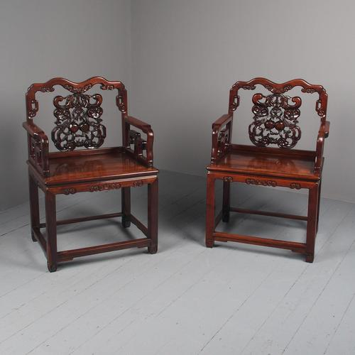 Pair of Chinese Qing Dynasty Hongmu Throne Chairs (1 of 12)
