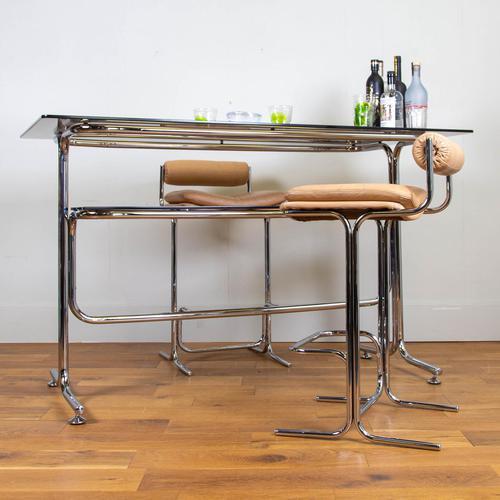 Rare Chrome & Smoked Glass Pieff Eleganza Breakfast Bar & 2 Stools (1 of 15)