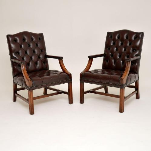Pair of Antique  Deep  Buttoned Leather Library Armchairs (1 of 12)