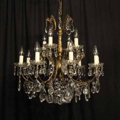 Italian Gilded 12 Light Antique Chandelier (1 of 8)