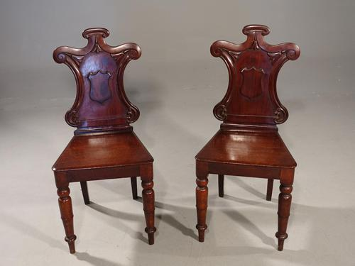 Attractive Pair of Mid 19th Century Mahogany Hall Chairs (1 of 4)