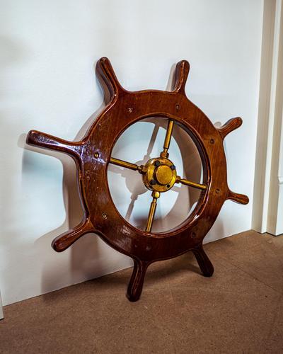 Brass & Oak Yacht Wheel (1 of 6)