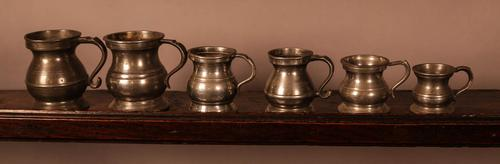 Collection of 6 Pewter Tankards Antique (1 of 3)
