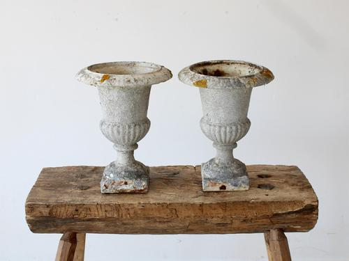 Pair of Vintage French Weathered Medici Urns (1 of 7)