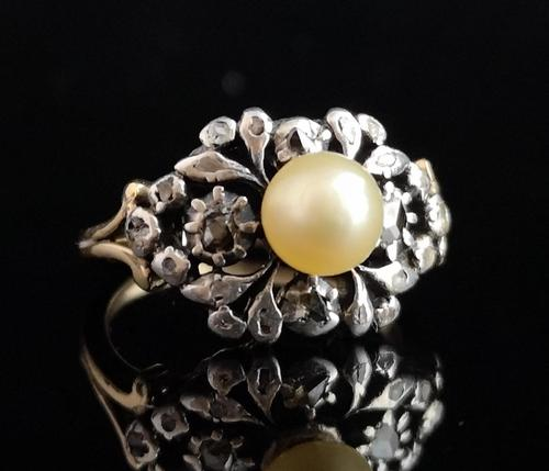 Antique Georgian Diamond & Pearl Ring, 18ct Gold (1 of 14)