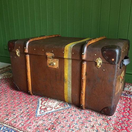 Steamer Trunk 1930s Art Deco Bentwood Travel Chest Coffee Table Storage (1 of 10)