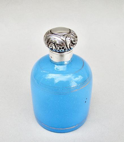 Large Silver Mounted Turquoise Opaline Glass Scent Bottle, Birmingham 1891 (1 of 7)