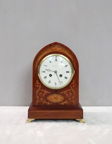 French Belle Epoque Mahogany and Inlaid Mantel Clock (1 of 8)