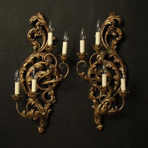 Florentine Silver Giltwood Antique Wall Lights (1 of 10)