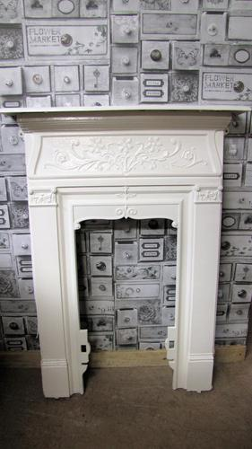 Small antique painted cast iron fire surround (1 of 5)