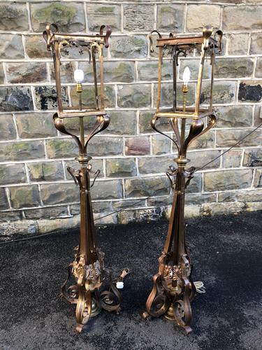 Pair of Antique Brass & Copper Lantern Lamps (1 of 10)