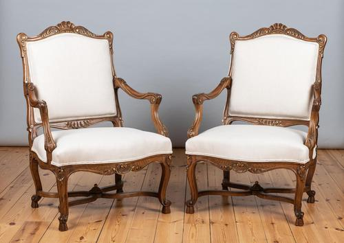 Pair of Large French Walnut & Parcel-Gilt Armchairs (1 of 10)