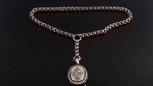 Antique Victorian Silver Book Chain Collar Necklace Locket Pendant (1 of 12)