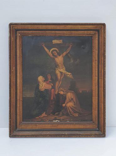 19th Century Oil on Canvas of Jesus on Cross (1 of 5)