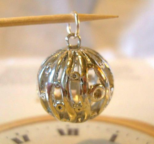 Vintage Pocket Watch Chain Fob 1970s Large Fancy Chrome Ball Fob (1 of 6)