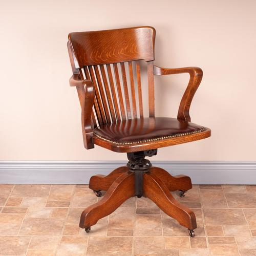 Good Quality Oak Revolving Office Desk Chair (1 of 14)