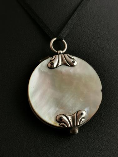 Antique Georgian Quizzing Glass Pendant, Mother of Pearl & Silver (1 of 14)