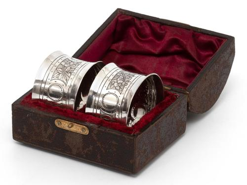 Victorian John Round Boxed Pair of Silver Convex Shaped Napkin Rings (1 of 4)