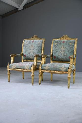 Pair of Gold French Louis XVI Style Armchairs (1 of 12)