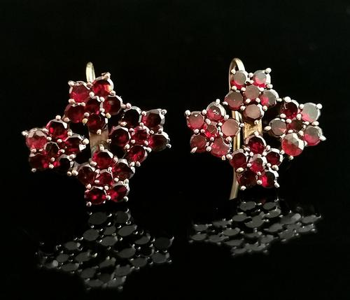 Antique Victorian Bohemian Garnet Flower Earrings, 9ct Gold (1 of 11)