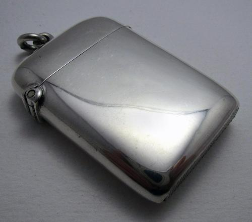 Large Antique 1906 Sirus Patent Solid Sterling Silver English Plain Vesta Case Match Box (1 of 11)