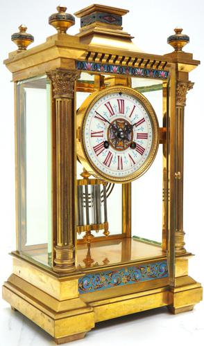 Antique French Table Regulator with Compensating Pendulum 8 Day 4 Glass Mantel Clock (1 of 12)