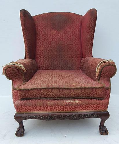 Irish Chippendale Design 19th Century Mahogany Wing Back Armchair (1 of 9)