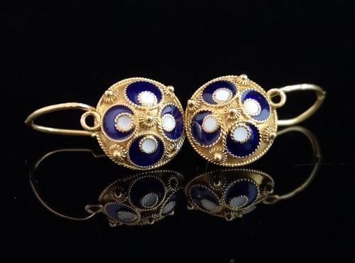 Vintage Russian enamel earrings, silver gilt (1 of 8)