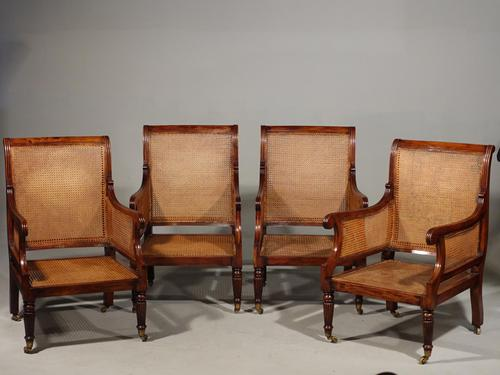 Very Fine Set of 4 Regency Period Mahogany Bergère Chairs (1 of 6)