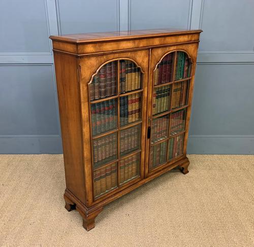 Good Burr Walnut Glazed 2 Door Bookcase (1 of 15)
