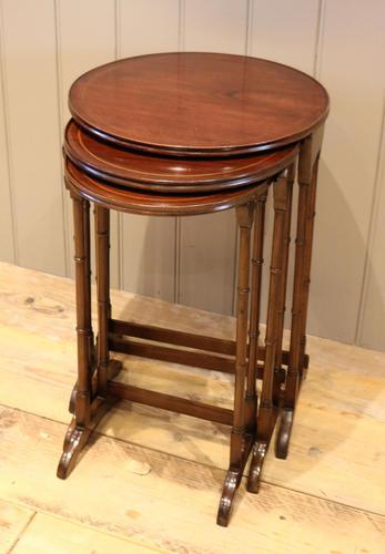 Circular Mahogany Nest of Three Tables (1 of 9)