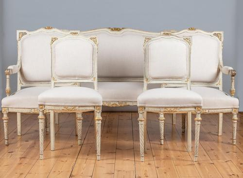 19th Century French Painted And Parcel-Gilt Upholstered Salon Suite (1 of 15)