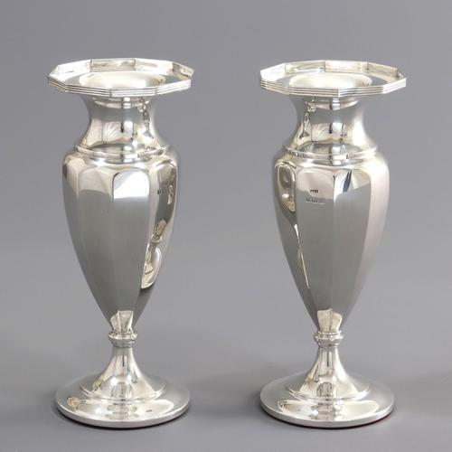 Pair of Silver Decagonal Vases by Docker & Burn - Birmingham 1921 (1 of 9)