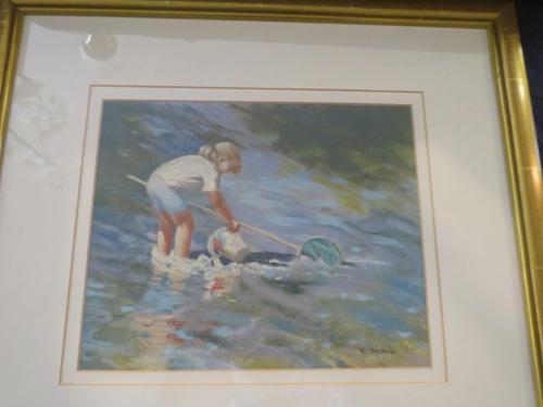 """Pastel Drawing """"Serious Fishing"""" Artist Rachel C. Rowe (1 of 5)"""