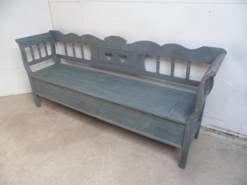 Grey / Green 3-4 Seater Antique Pine Heart Kitchen / Hall Box Settle / Bench (1 of 10)