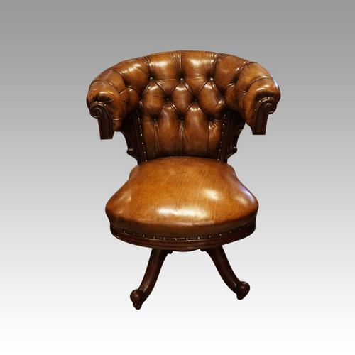 Victorian Leather Revolving Desk Chair (1 of 8)