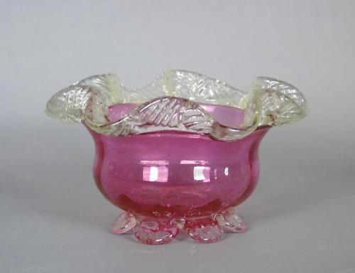 Victorian Hand Blown Cranberry Glass Crimped Edge Bowl (1 of 3)
