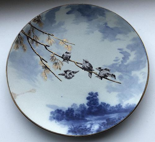 Pinder Bourne Birds in a Tree Display Plate c1880 (1 of 4)