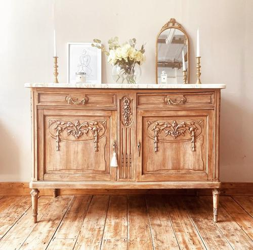 French Antique Oak Cupboard / Cabinet with Marble (1 of 10)