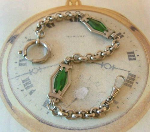Antique Pocket Watch Chain 1910 Art Nouveau Silver Chrome & Green Glass Albert (1 of 12)