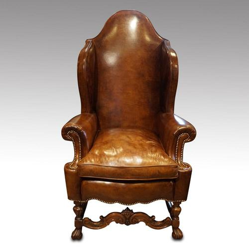 Antique Carved Walnut Leather Wing-back Chair (1 of 12)