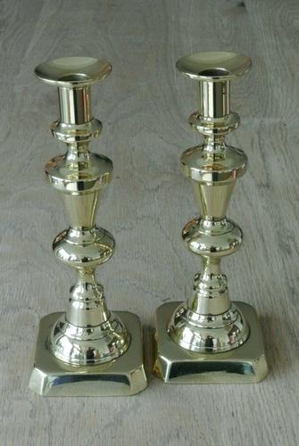 Pair of Victorian Brass Candlesticks 10 Inch Good Condition Polished c.1890 (1 of 6)